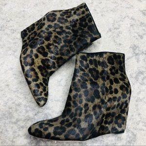 Brian Atwood Bellaria Leopard Wedge Bootie Sz 9